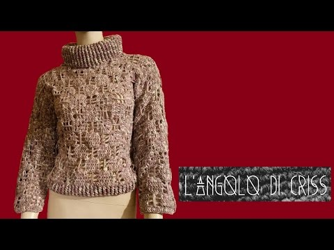Maglione donna all'uncinetto - crocheted sweater -  suéter en crochet