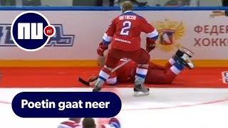 Poetin struikelt tijdens overwinningsronde na ijshockeywedstrijd