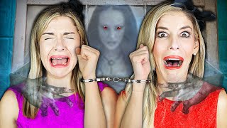 24 Hours HANDCUFFED in Hacker Mini Mansion with Real Ghost   Rebecca Zamolo