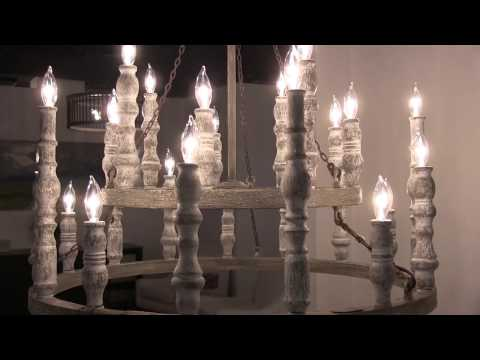 Video for Norridge Distressed Fence Board and Distressed White Twenty-Four Light-Light Chandelier