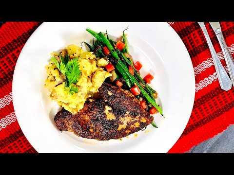 Spiced Chicken Crushed Potatoes and French Beans