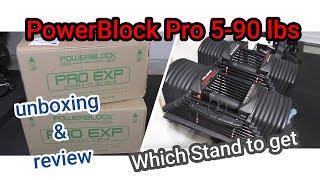 PowerBlock Pro Exp 5-90 lbs - Best adjustable dumbbells ?? Powerblock Compact Stand vs Column Stand