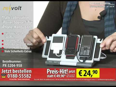 """revolt Multi-Ladestation """"Power-Source-I"""" für iPhone, Handy & Co."""