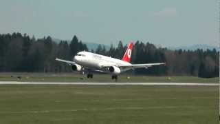 preview picture of video 'Turkish Airlines Airbus A320-232  landing & takeoff Brnik airport, Slovenia HD'