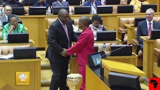 Watch Julius Malema congratulating Cyril Ramaphosa after being elected President of South Africa - Parliament  MY AFRICA welcomes all comments that are constructive, contribute to discussions in a meaningful manner and take stories forward. However, we will NOT condone the following: - Racism (including offensive comments based on ethnicity and nationality) - Sexism - Homophobia - Religious intolerance - Cyber bullying - Hate speech - Derogatory language - Comments inciting violence. We strive to make the YouTube (MY AFRICA) community a safe and welcoming space for all.