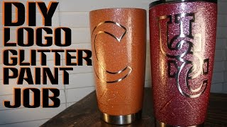 DIY  HOW TO MAKE LOGO GLITTER PAINTED YETI REC PRO OZARK TRAIL