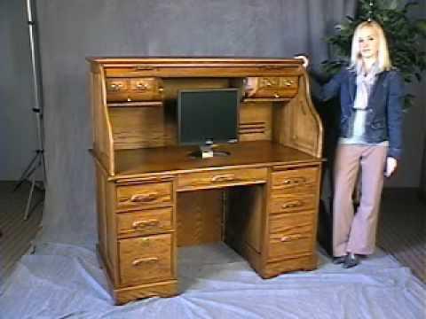 Oak Roll Top Computer Desk - In Stock - Free Shipping