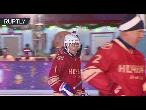 Putin plays hockey on Red Square ice rink