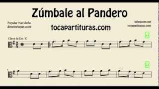 Zúmbale al Pandero Partitura de Viola en Clave de Do Villancico Popular para viola