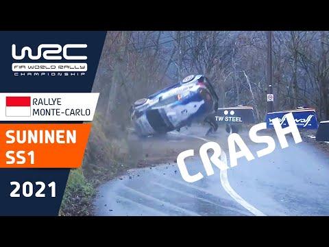 WRC(世界ラリー選手権)2021年 スニネンが崖から落ちるほどの大クラッシュの瞬間を捉えた映像。開幕戦のラリーモンテカルロ