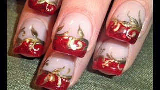 Pretty Red And Gold Nails Design | Elegant Wedding Tip Nail Art Tutorial