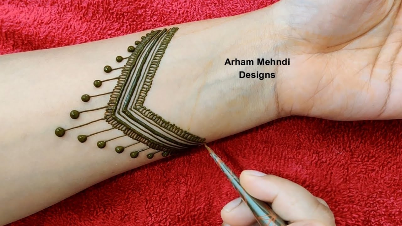 Video Latest Arabic Mehndi Design For Front Hand Easy Simple Mehndi Design Arham Mehndi,Gold Double Layer Short Latest Mangalsutra Design