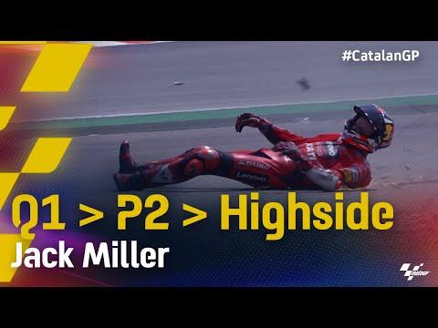 ジャックミラーが転倒。MotoGP 2021 カタルニアGP 予選Q2の転倒シーン動画