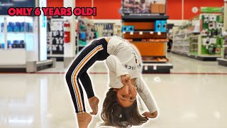 6 YEAR OLD AVA DOES CRAZY FLEXIBLE GYMNASTIC MOVES AT TARGET!
