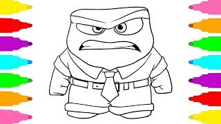How to Draw Anger from Inside Out | Coloring Pages Disney and Pixar Character for Kids