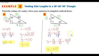 5-8B 30-60-90 Special Right Triangles