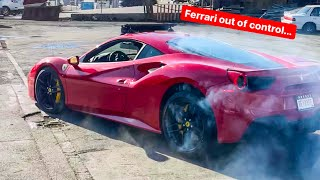MY DAUGHTER ALMOST CRASHES MY FERRARI DOING DONUTS...