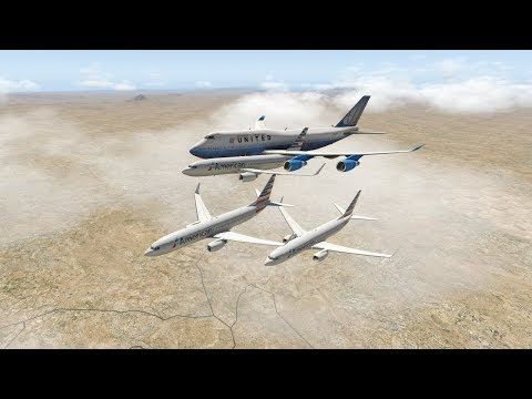 Huge Planes Do A Formation Flight - X-Plane 11