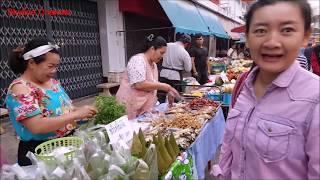 ตลาดเช้าเชียงคำ แม่ค้าลื้อ ยวน ลาว  ของกินพื้นบ้านนานาชนิด