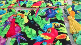 Freedom the Parrot Donates Parrot & Toucan Bags Sewn by Connie! Feathered Friends Forever