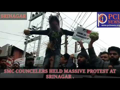 Smc Councelers held  massive protest at srinagar aganist