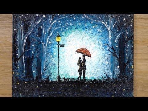 How to draw a Romantic Couple under umbrella / Aluminum painting technique