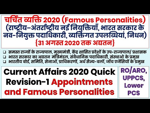 Famous Personalities (Appointments) 2020/ चर्चित व्यक्ति 2020/ प्रमुख पदाधिकारी, नियुक्तियाँ, निधन