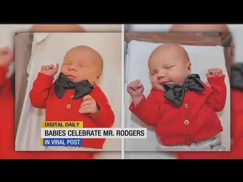 Newborns celebrate World Kindness Day dressed as Mr. Rodgers