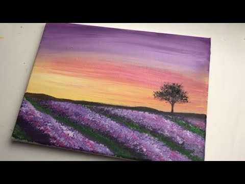 Easy Acrylic Painting For Beginners | Lavender Field Sunset Landscape | Acrylic Blending Techniques