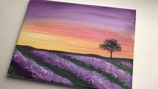 Lavender Field   Acrylic Landscape Painting For Beginners Step By Step   Acrylic Beginner Easy