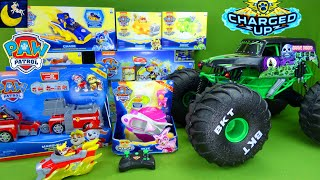 LOTS of Paw Patrol Mighty Pups Charged Up Toys & Monster Jam Mega Grave Digger RC Monster Trucks Toy