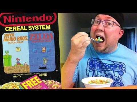 Enjoying 25-year-old Nintendo Cereal