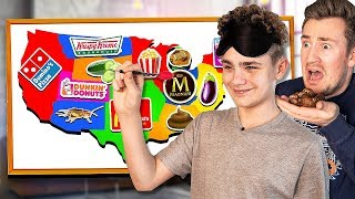 BROTHERS Throw a DART at a Map & EAT Whatever it Lands On *Blindfolded*