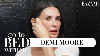 Demi Moores Anti-Aging Nighttime Skincare Routine | Go To Bed With Me | Harpers BAZAAR
