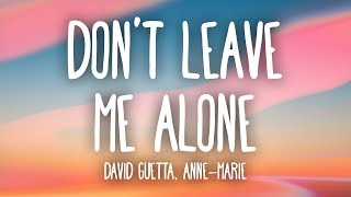 David Guetta, Anne Marie   Don't Leave Me Alone (Lyrics)
