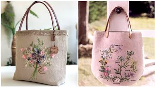 Hand Made Embroidered Fabric Bags Designs Ideas //Hand Embroidery Patterns For Fabric Bags
