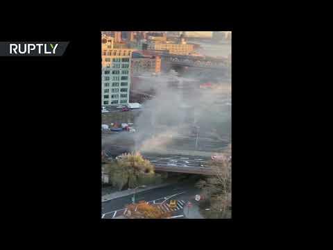 Massive INFERNO on Brooklyn Bridge: Four-car crash shut down traffic