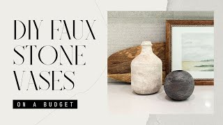 EASY DIY | Faux Stone or Ceramic Vases | UPCYCLE VASE | With any OLD VASE or BOTTLE!