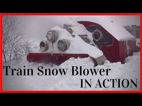 Biggest Snowfall vs Train Snowblower -Train Snow Plow - Rotary Snow Plow Blower