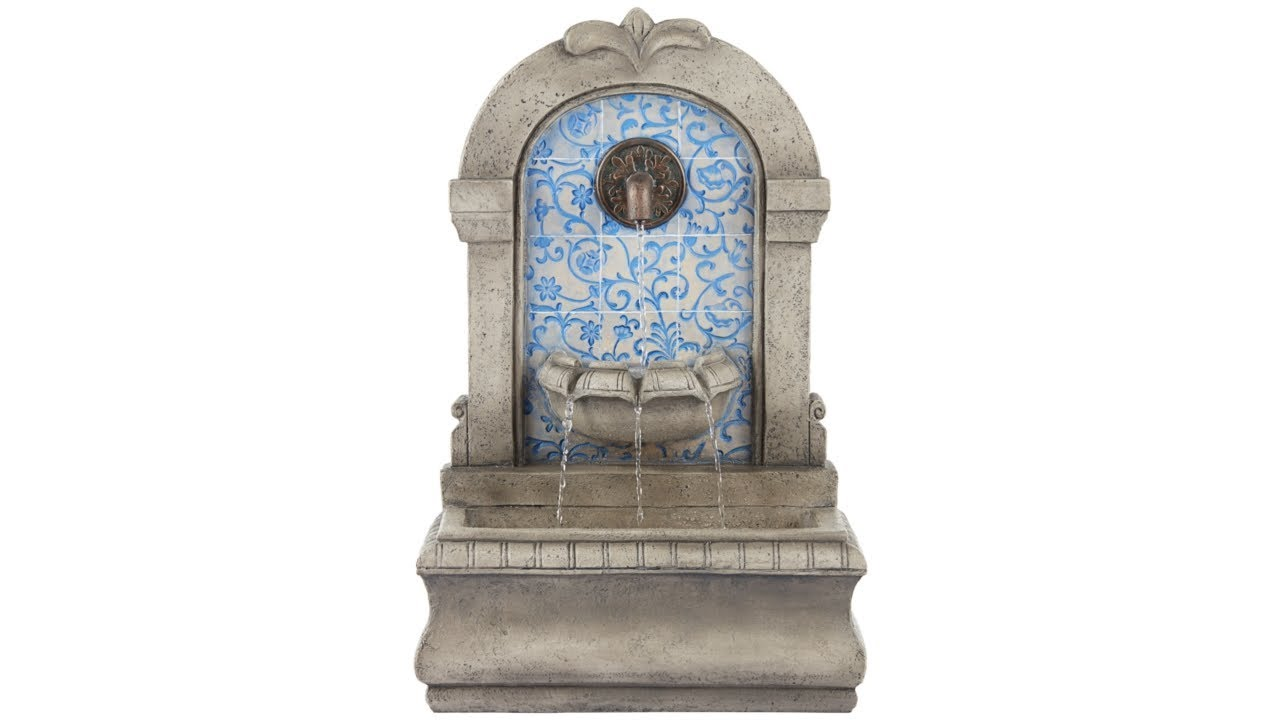 """Manhasset 30 1/4"""" High Stone and Blue Outdoor Wall Fountain"""