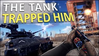 HE WAS TRAPPED by the BRADLEY APC! - Rust Solo Survival #2