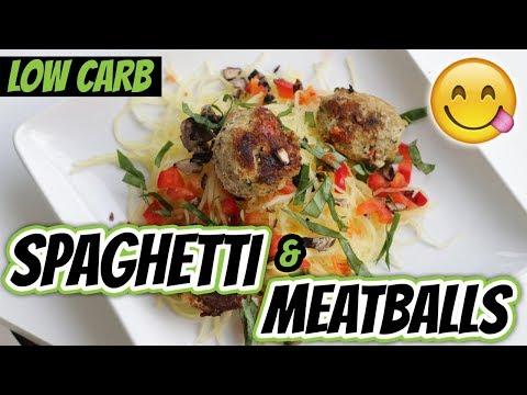 HOW TO COOK SPAGHETTI SQUASH (Low Carb Spaghetti And Meatballs Recipe) | LiveLeanTV