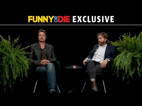 Brad Pitt tolerating Zach Galifianakis between two ferns