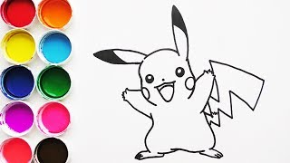 Dibuja y Colorea Pikachu de Pokemon - Dibujos Para Niños - Learn Colors / FunKeep