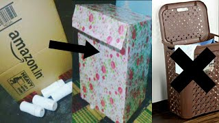 How To Reuse A Cardboard Box | DIY Laundry Basket And Corner Table  💙