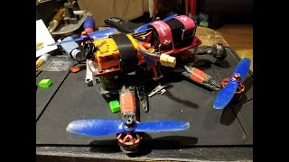 FPV quadcopter flying high speed drone