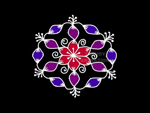 Amazing Lotus Flower Rangoli Design 116dots With Colors Latest