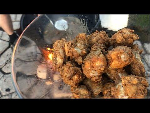 Куриные крылышки в панировки KFC, на костре в казане, рецепт от Рината
