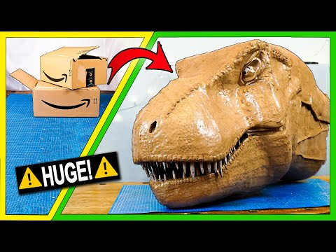 Making a Giant T-Rex Head Out of Cardboard Boxes