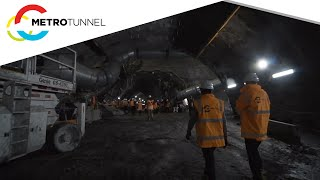 Roadheader breakthrough at State Library Station
